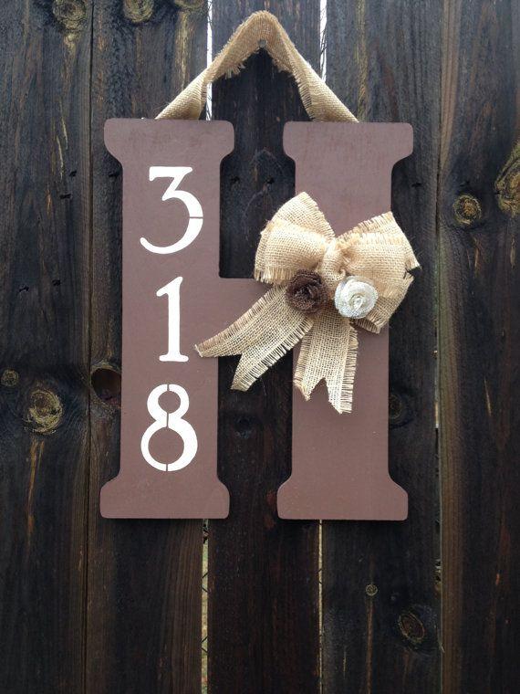 Monogram Door Hanger with Burlap Bow, Flowers, and Street Number