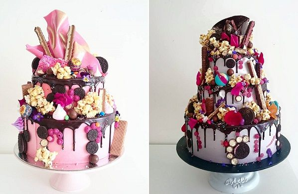 Tiered drippy cakes for an over-the-top wedding cake! Featured cakes by the Unbirthday Bakery.