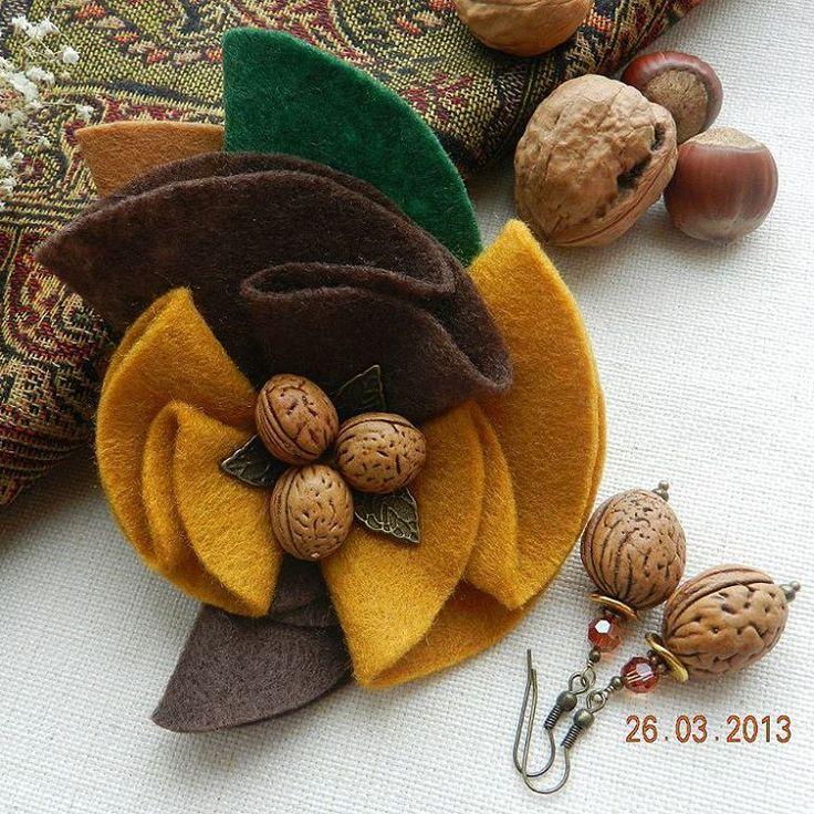 "kriss.foxx - Set ""Oreshnitsa"" Wreath - earrings with agate & walnuts - Instragram"