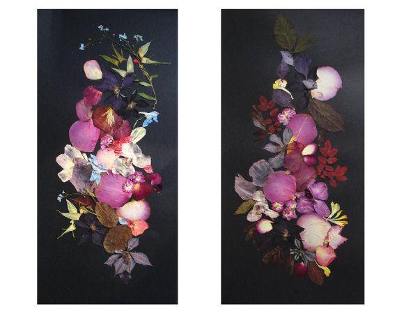 Set of 2 botanical artworks Pressed flowers by FloralCollage #craft #gift #botanicals