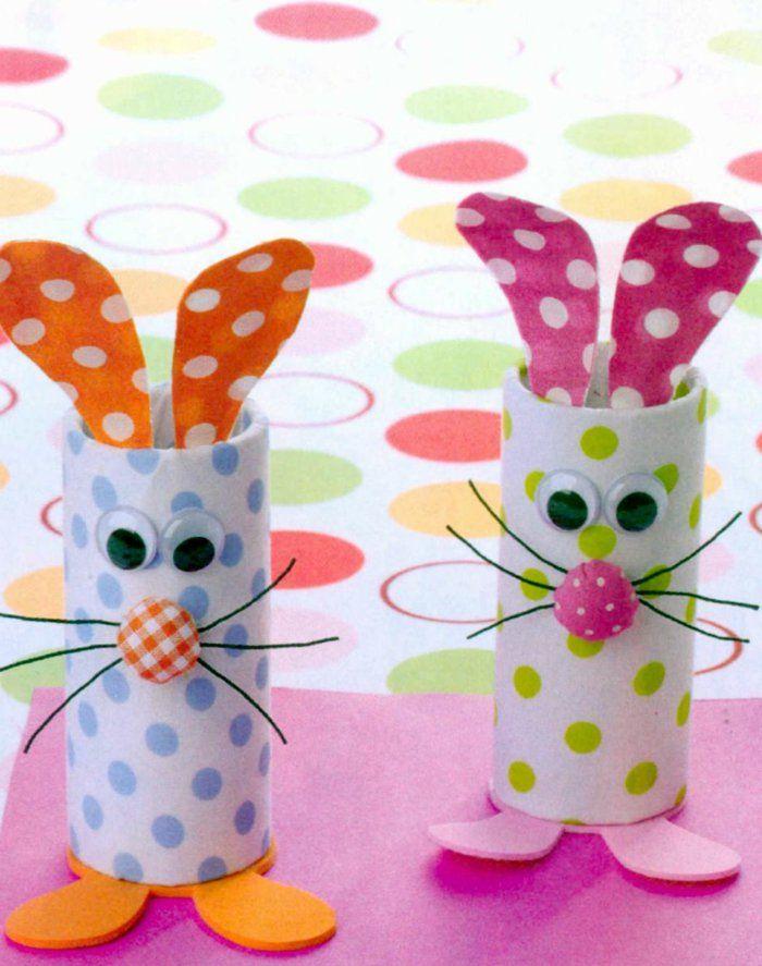recycler le rouleau de papier toilette, lapins mignons de rouleaux recyclés