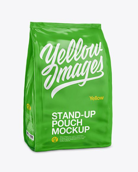 Download Stand Up Glossy Pouch Half Side View In Pouch Mockups On Yellow Images Object Mockups Mockup Free Psd Free Logo Mockup Psd Mockup Downloads