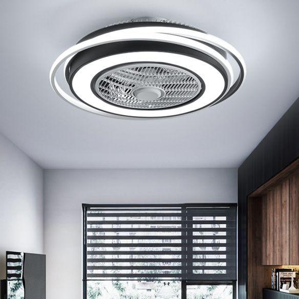 21 5 W Led Flush Mount Lighting Modernist Round Square Metal 3 Blades Pendant Fan Lamp In Black For Be In 2020 Fan Lamp Semi Flush Mount Lighting Flush Mount Lighting
