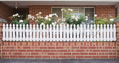 White Picket Fence Red Brick New House Pinterest