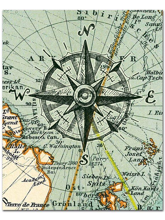 Nautical Map Compass Print Compass on Arctic by AdamsAleArtPrints