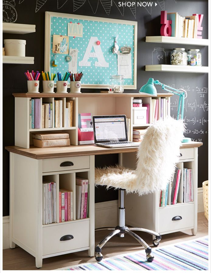 PB Teen desk. Love the chalkboard wall. I want this desk so bad but its over $1,000