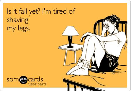 Is it fall yet? I'm tired of shaving my legs.