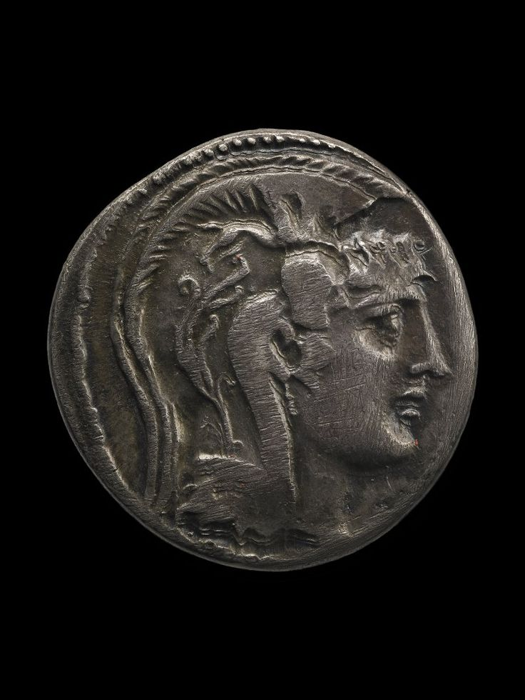 Silver coin, obverse, Head of Athena, c. 55 BC