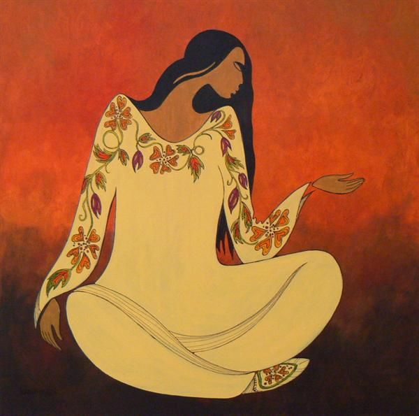 Woodlands Woman - Contemporary Canadian Native, Inuit & Aboriginal Art - Bearclaw Gallery - maxine noel