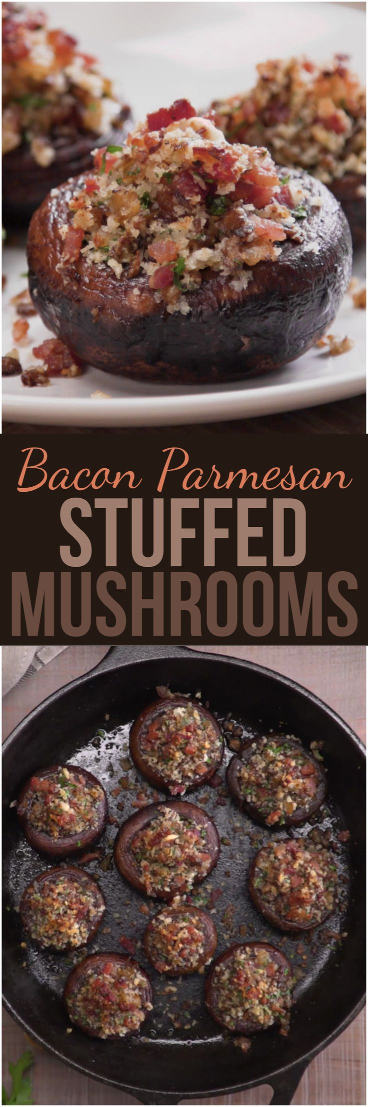 We stuffed gorgeous sautéed cremini mushroom caps with a mouthwatering mixture of bacon, Parmesan cheese, and herbs, and then we baked them to crispy, caramelized perfection. These quick and easy party bites will disappear as soon as you bring them out.