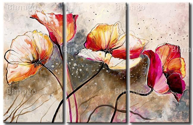 Quadro su tela con papaveri frustati al vento // Poppies on canvas