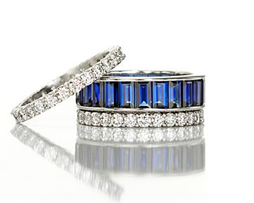 Leverington Jewelers Handmade Hand Made Platinum, Gold & Diamond Handcrafted Jewelry Designers Platinumsmith 4341 Lovers Lane Highland Park, University Park, Dallas Texas 75225, Platinum, Sapphire & Diamond Wedding Band Stack Set Bands Rings