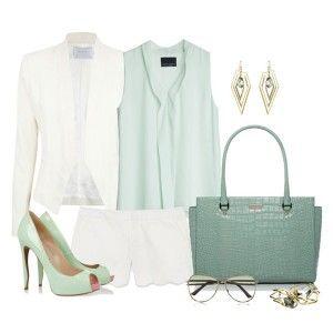 Мятные туфли, белые шорты, белый пиджак, туника мятного цвета, серо-голубая сумка, украшения