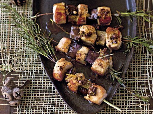 Rezept für Kaninchenspieße mit Pilzrisotto
