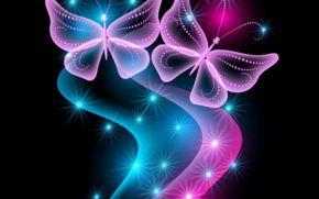 neon, butterflies, abstract, blue, pink, sparkle, glow, бабочки, неоновые обои