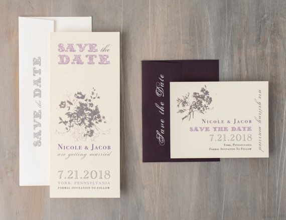 Rustic Plum Purple Save the Dates Lavender Save the by BeaconLane