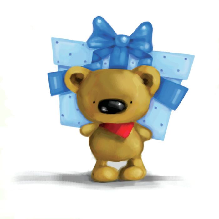 JO PARRY bear with blue gift.jpg | Jo Parry | Representing leading artists who produce children's and decorative work to commission or license. | Advocate-Art
