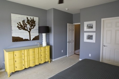 grey walls yellow accent