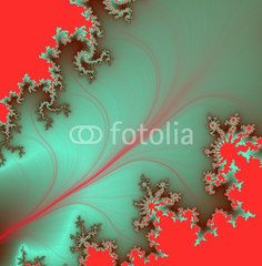Phosphorescent fractal leaf on red background