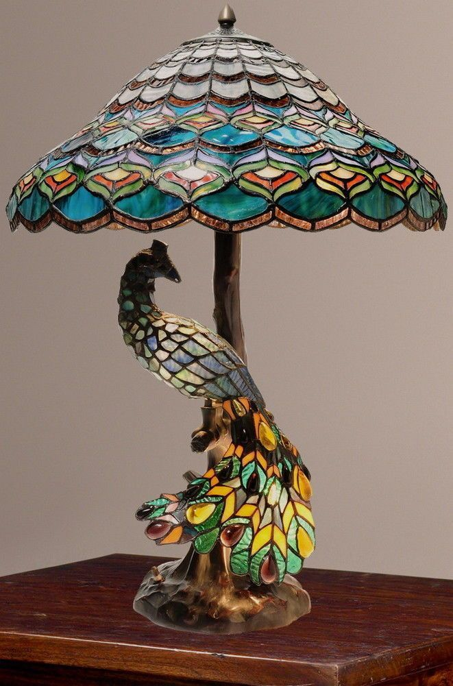Tiffany Style Peacock's Hallow Double Lit Stained Glass Table Lamp New | eBay