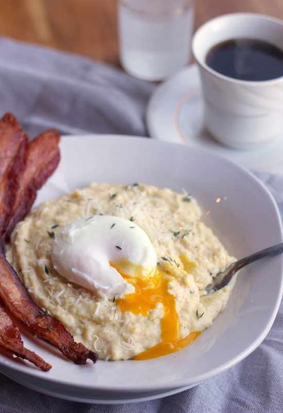Creamy Breakfast Polenta with Asiago, Thyme, Bacon, and ...