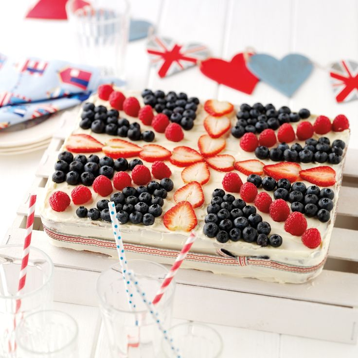 This Union Jack Tray Bake Recipe would be a perfect centrepiece for any great British celebration.