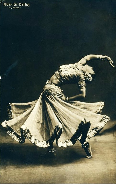 Photo of Ruth St. Denis. A Frenchwoman who toured with Indian Artist UDAY SHANKAR, older brother to RAVI SHANKAR. Uday was the first to take classical indian dances and make contemporary pieces widely enjoyed by the western audience.: Dancing, Belly Dance, Inspiration, Dancers, Art, Bellydance, Photo