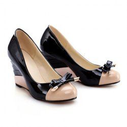 Party Women's Spring Wedge Shoes With Patent Leather Bow and Candy Color Design