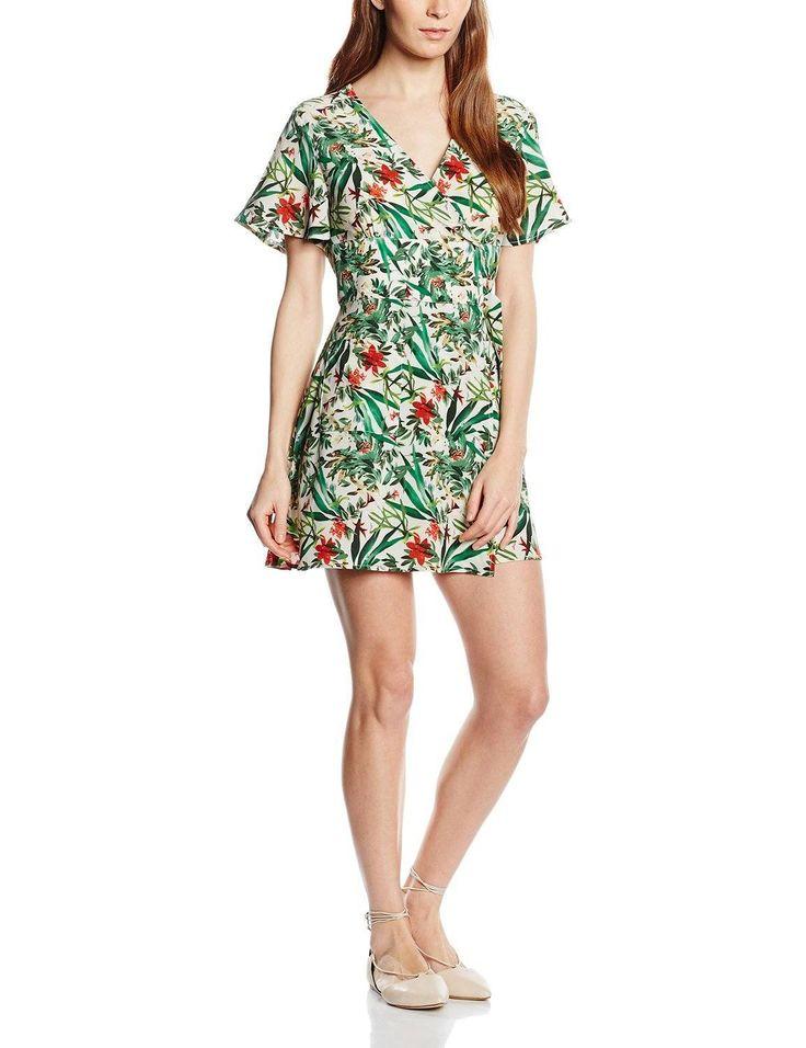 Vestido hipster mujer manga corta con diseño estampado floral, y muy tropical, es ideal para esta primavera – verano.