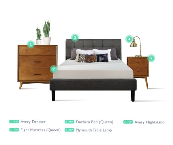 Hip Bedroom - Starting at $109/mo. with all of the items shown here. One of the new bedroom items available with free delivery, set-up and installation from Feather.