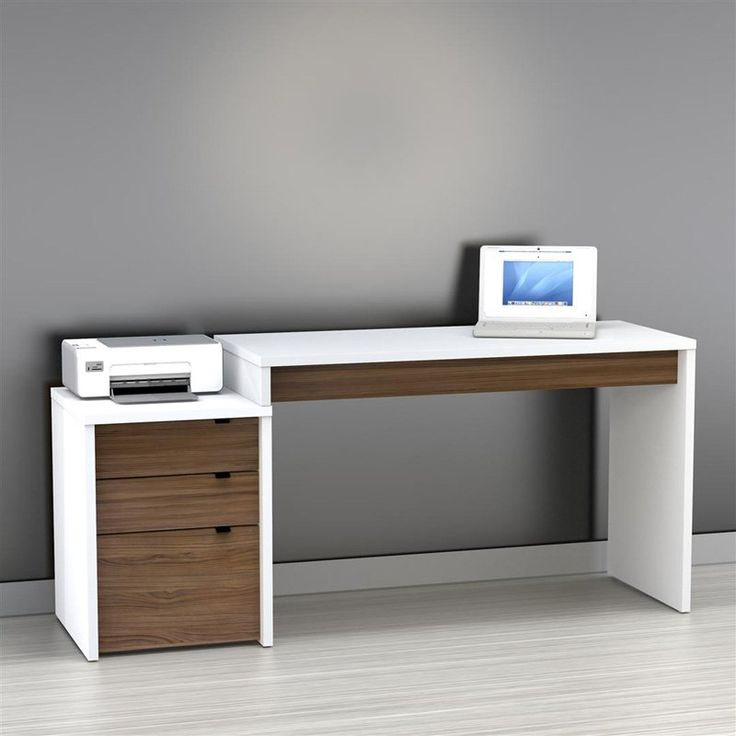 Nexera Liber T Computer Desk With Filing Cabinet   White