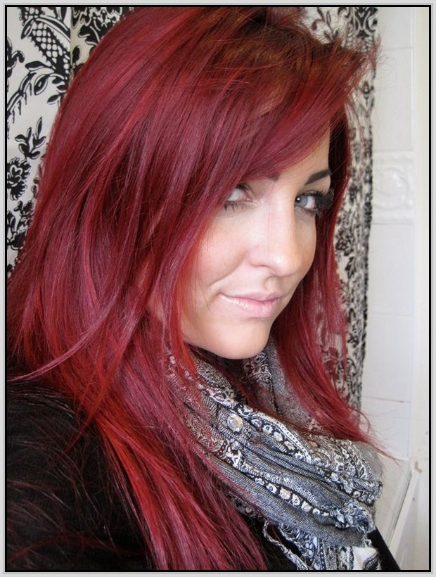 Jazzing Cherry Cola... LOVE THIS COLOR, but it fades too quickly for me. Gonna try to approximate it by mixing Jerome Russel Punky Color in Wine Red, Electric Purple, and a hint of the bright yellow (to add a brownish-auburn hint)