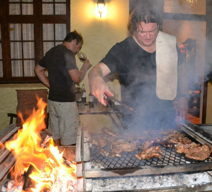 Indaba's winemaker, Bruwer Raats, hosting a proper braai in South Africa. #BBQ