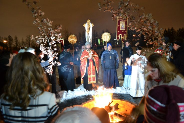 Easter Service outside....in Minnesota it was still pretty cold!  St. Nicholas Serbian Orthodox Church, Indianapolis Indiana.