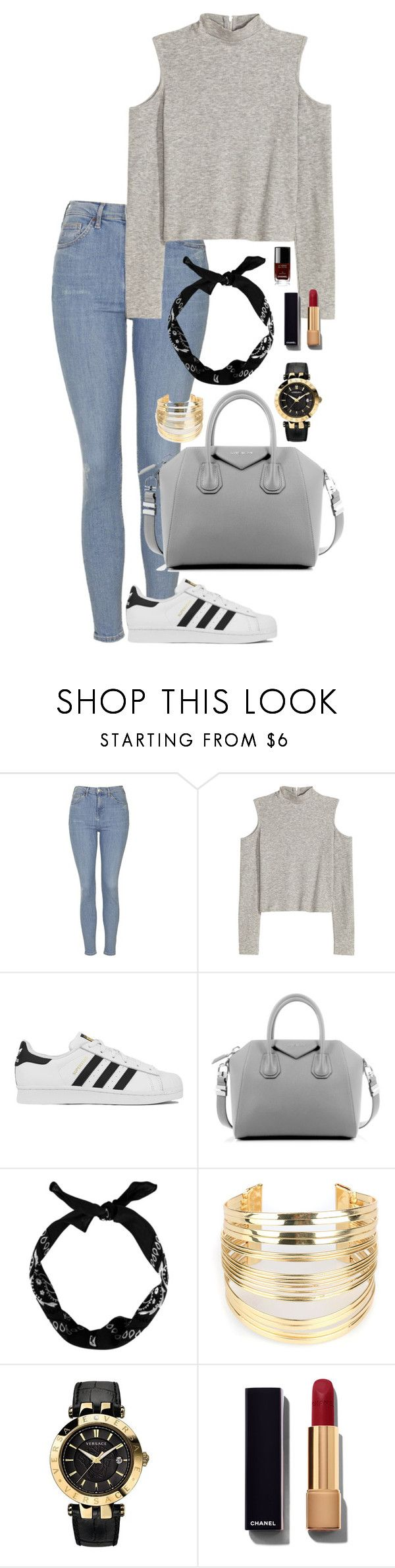 """Outfit 148"" by lexiesimpson on Polyvore featuring Topshop, adidas, Givenchy, WithChic, Versace, Chanel, women's clothing, women, female and woman"