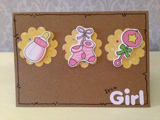 """Randis hobbyverden: Babykort """"It`s a girl"""""""
