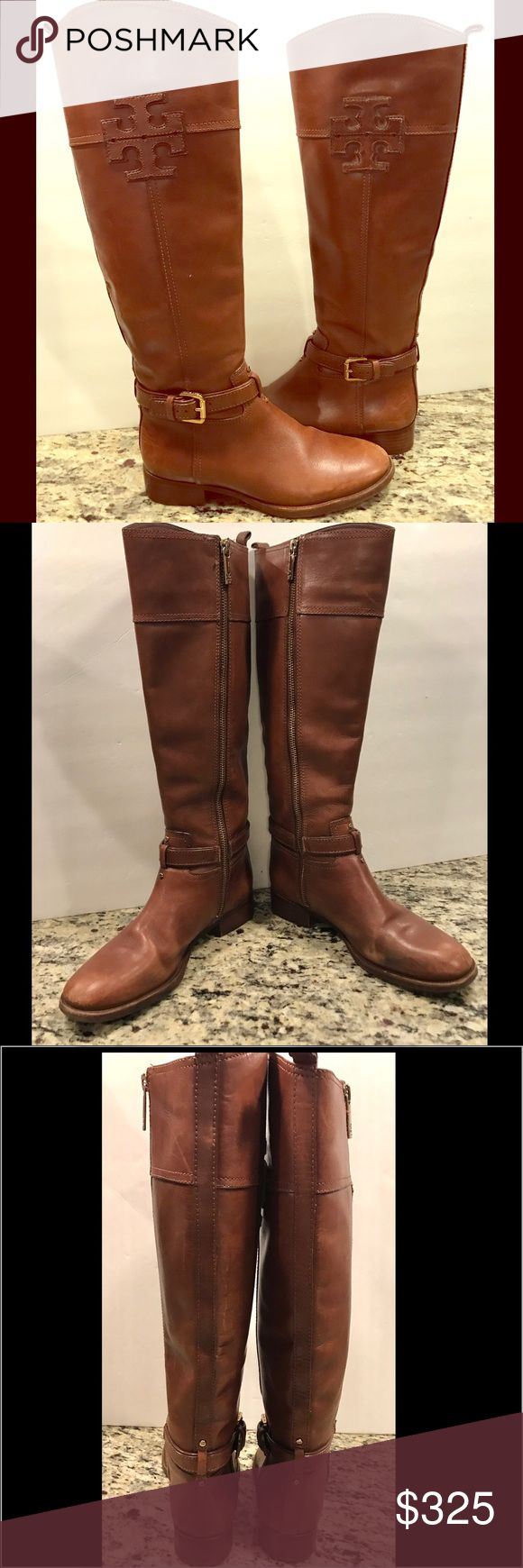 "Tory Burch Lizzie brown riding boots Absolutely stunning Tory Burch Lizzie brown riding boots!   Gorgeous leather with embossed logos at top side.  Side gold zipper with TB zipper pull.  Buckle with TB around ankle.        1 1/4"" heel. 16.5"" tall, 12"" calf circumference.  **These do show some signs of wear!  Please refer to last picture for close-ups.  Inner lining in perfect condition, no stains, rips or tears.  Some scuffing, mostly at toe area and inner portion of left shoe.  So much life…"
