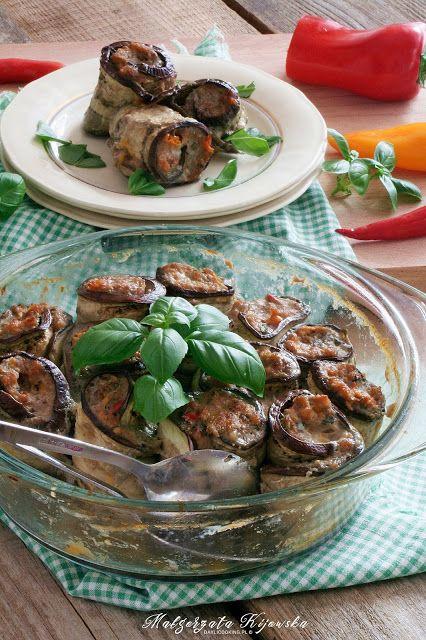 Bakłażanowe roladki z paprykowym mielonym mięsem