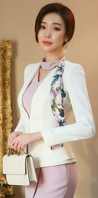 Single Button Two Tier Ruffle Collarless ivory blazer jacket, koreanfashion