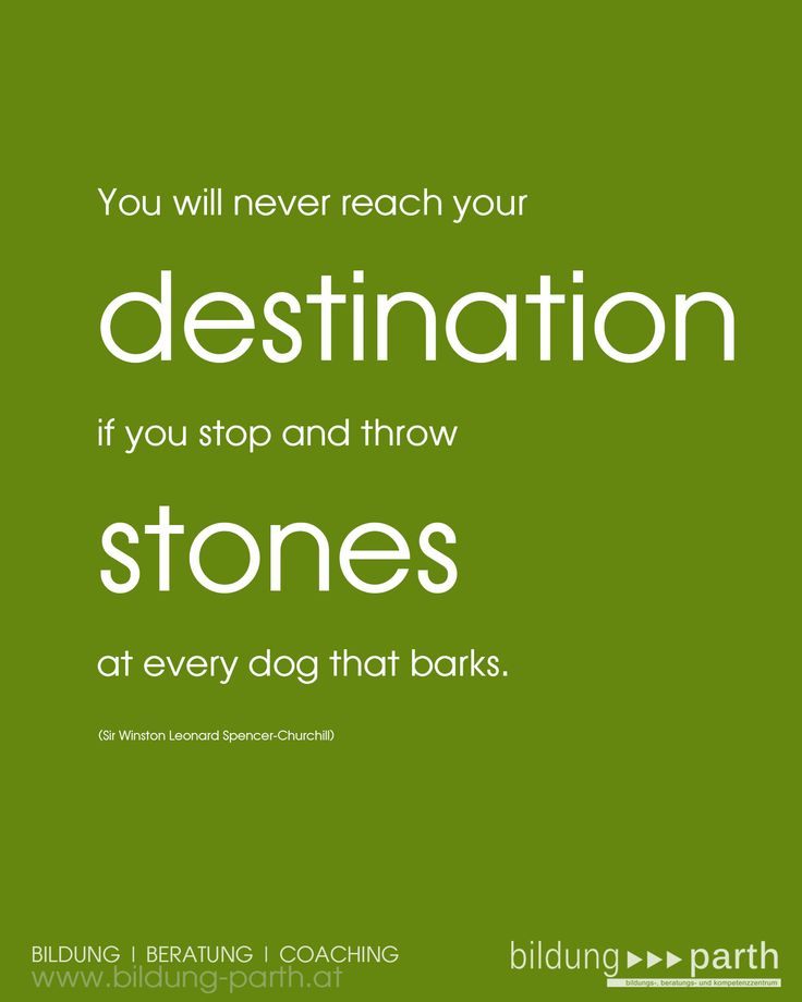 #Leitspruch #Business U201cYou Will Never Reach Your Destination If You Stop  And Throw Stones At Every Dog That Barks.u201d (Winston S. Churchill ) |  Pinterest | Bu2026