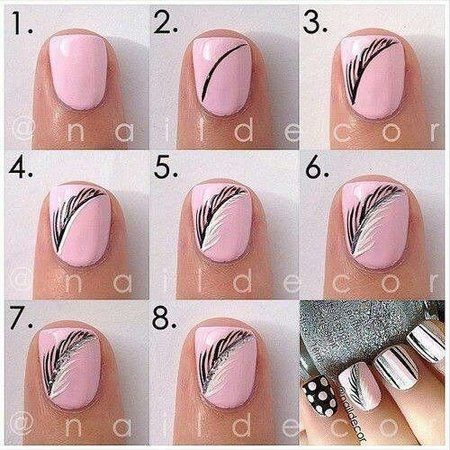 Pink n grey feather nails