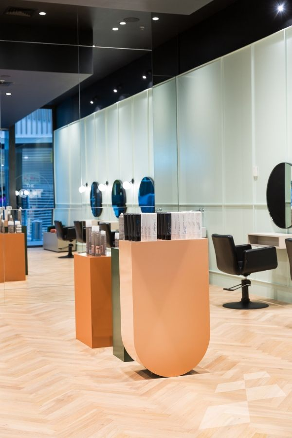 Herringbone timber flooring, natural colour wood flooring, parquet flooring, interior design ideas, retail design, hairdresser, hair salon, contemporary interiors, scandinavian