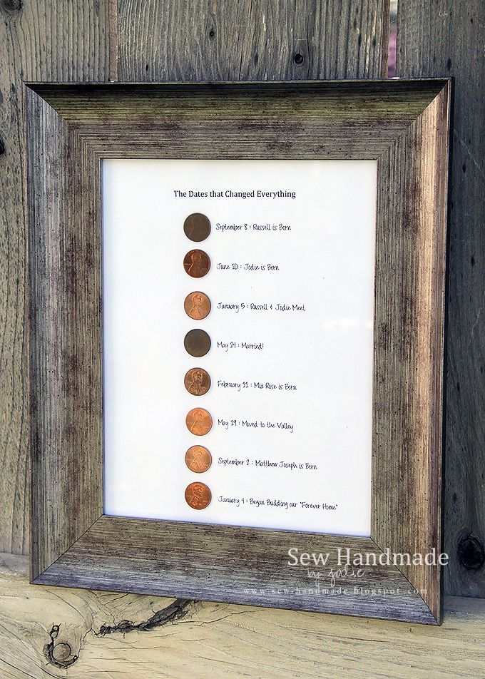 I loved the idea of using pennies from significant years as some sort of decor. Since I didn't want a keychain, I decided on this wall hanging. One penny for each of the milestones in our lives (so far). Sew Handmade: The Days of Our Lives