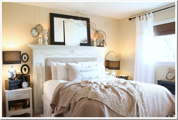 the mantle as a headboard is a great idea and perfect for accessories. Now THAT'S Cool!!
