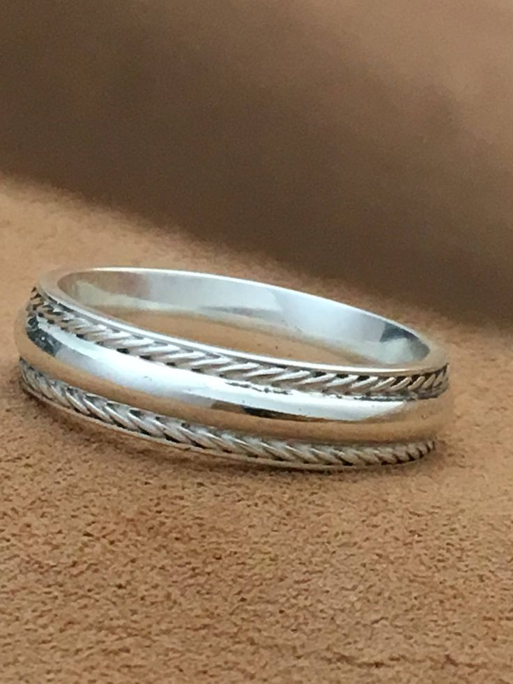 Sterling Silver Wedding Band -  Mens Wedding Ring -Comfort Fit 925 Sterling Silver Wedding Band - Band Handmade in U.S.A.- Engagement Ring.
