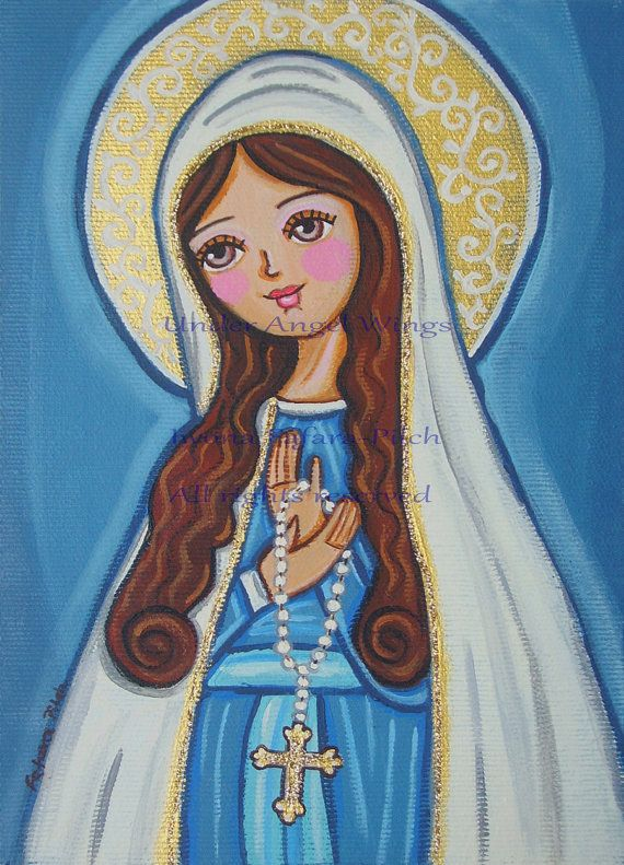 Our Lady of Rosary Virgin Mary wood block folk by UnderAngelWings