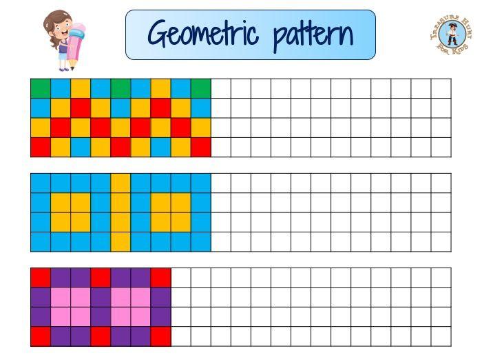 Kids geometric Pattern   Free math worksheet   Treasure ...
