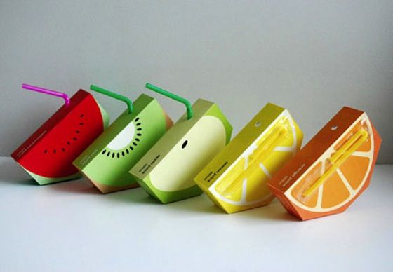 package design, juice boxes shaped like fruits, brilliant!