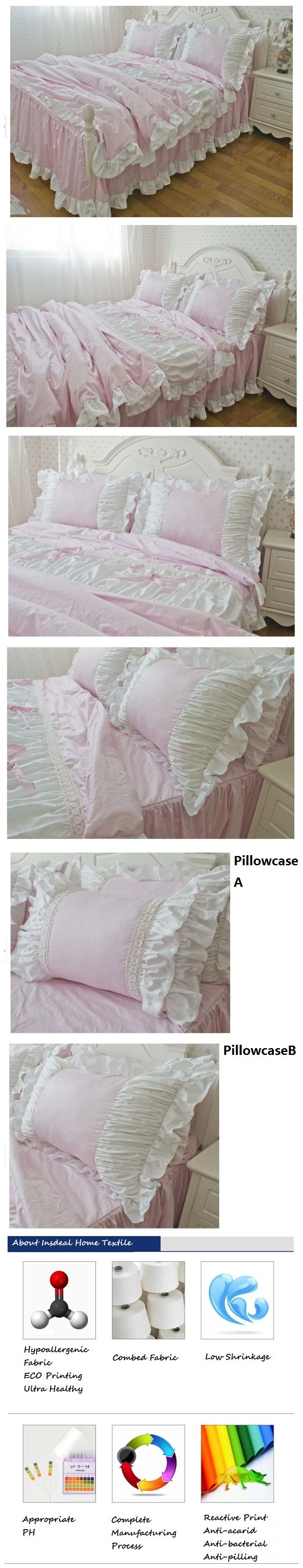 Romantic Pink Princess Bedding Set Elegant Korean Ruffle Duvet Cover Set Kids Twin Bedding Set