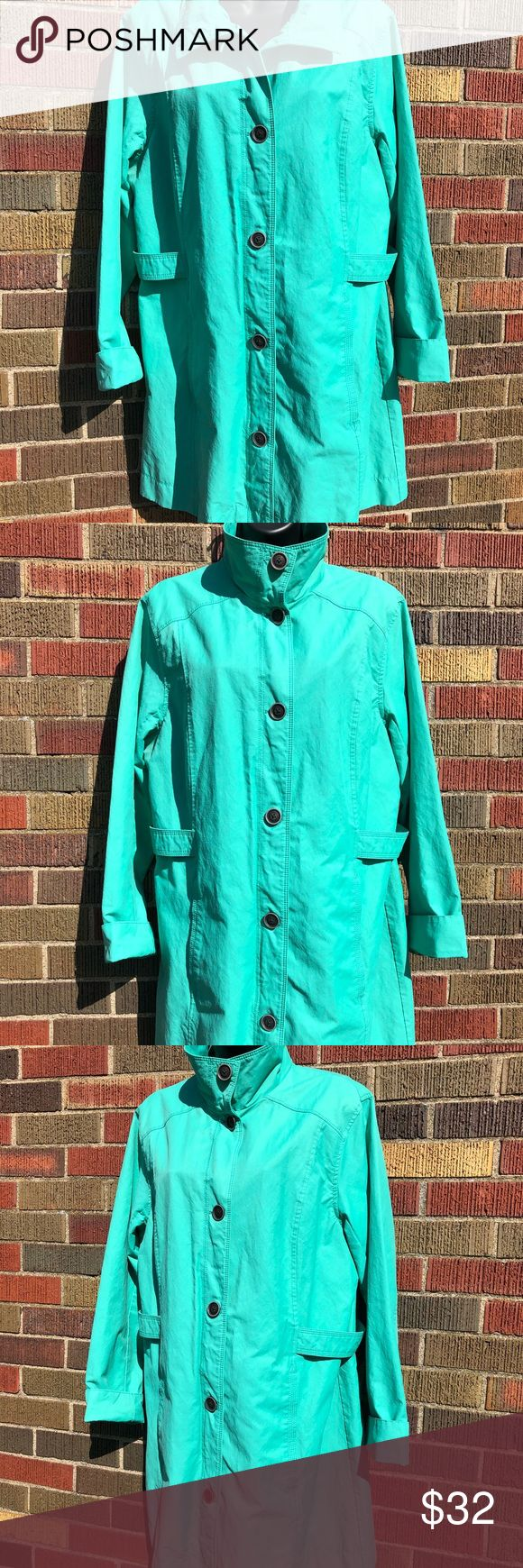 """Eddie Bauer Green Trench Coat Women's size XL Eddie Bauer pastel green trench coat. Women's size XL. 6 front buttons, 2 front pockets. In excellent used condition.  Shell is 64% cotton, 36% Nylon. Lining is 100% polyester.  Measurements (approx): 23"""" Pit to Pit, 25"""" Sleeves from shoulder seam to cuff, 34.5"""" long from top of shoulder seam to bottom of coat in front.  BUNDLE SPECIAL: 15% off 3 or more items from my closet! Eddie Bauer Jackets & Coats Trench Coats"""